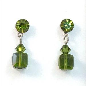 Green Rhinestone Crystal Dangle Earrings